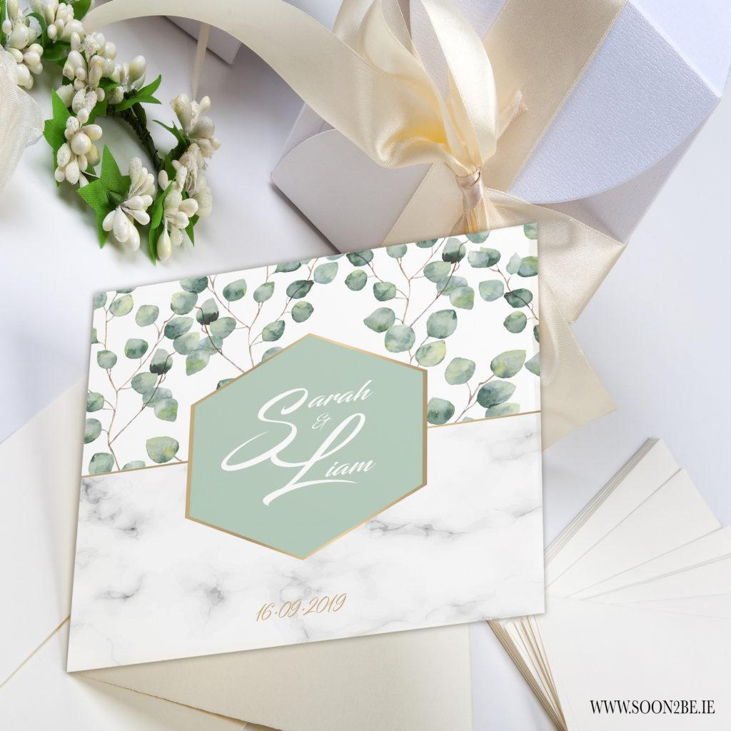 eucalyptus marble gold foil modern classy wedding invitation
