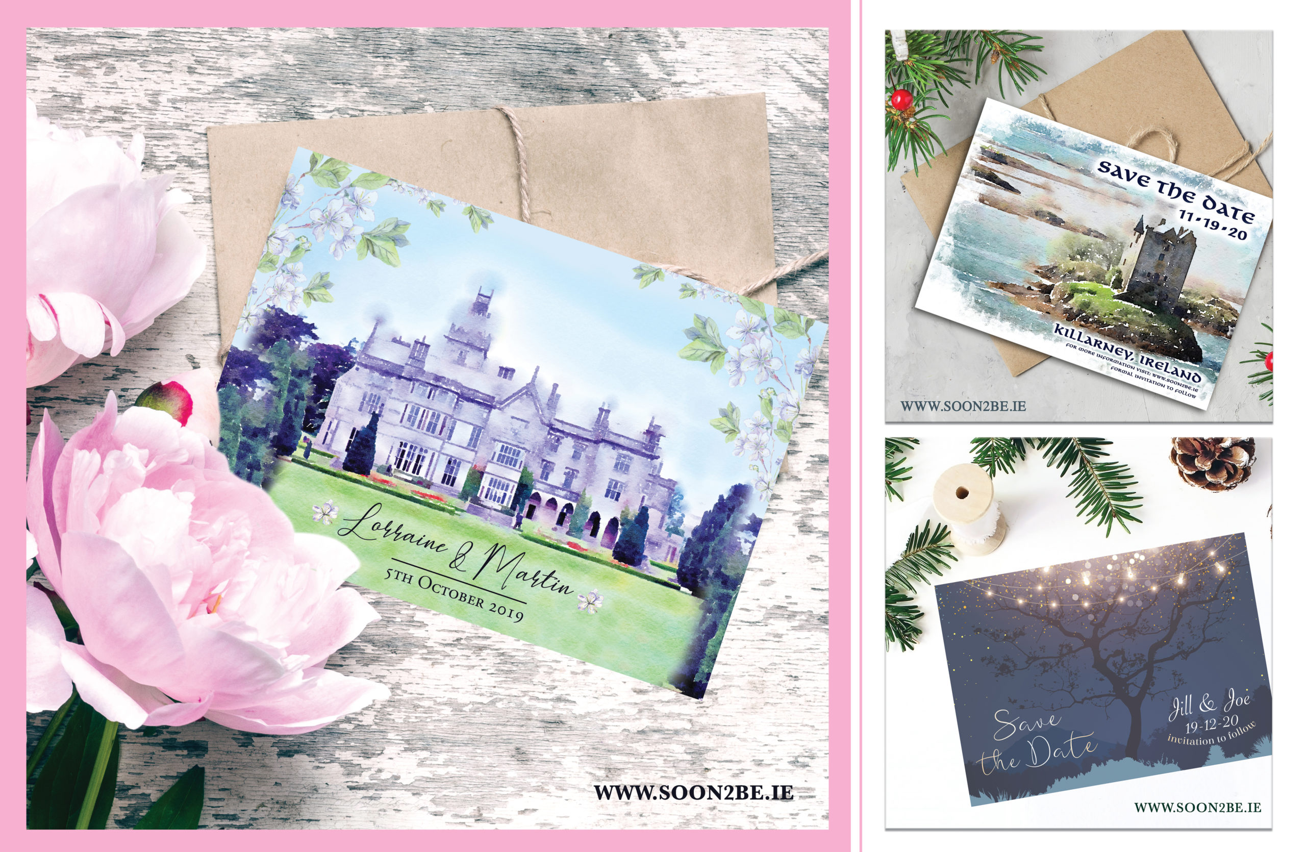bespoke, invitation, wedding, invite, watercolour, venue invitation, castle invitation,