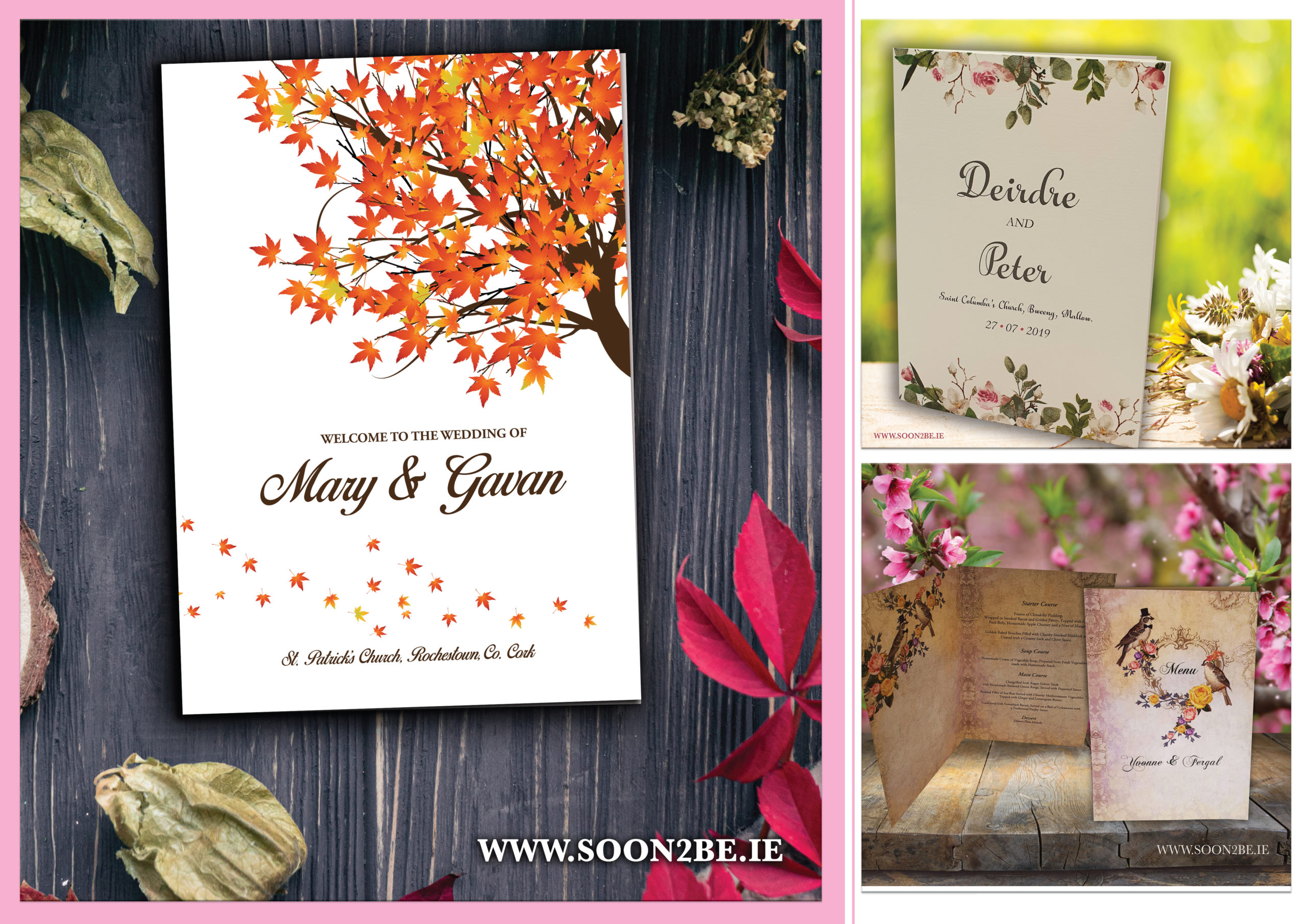 ceremony booklets, wedding booklets, wedding mass, wedding, booklet, flowers, vintage, tree, autumn,